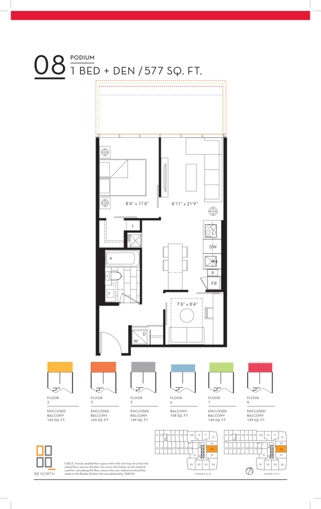 88 QUEEN - FLOORPLANS ONE PLUS DEN 577 SQ FT - CONTACT YOSSI KAPLAN