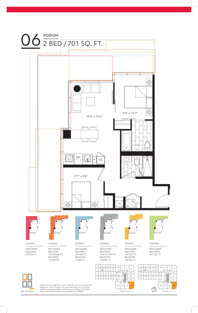 88 QUEEN - FLOORPLANS TWO BED 701 SQ FT - CONTACT YOSSI KAPLAN