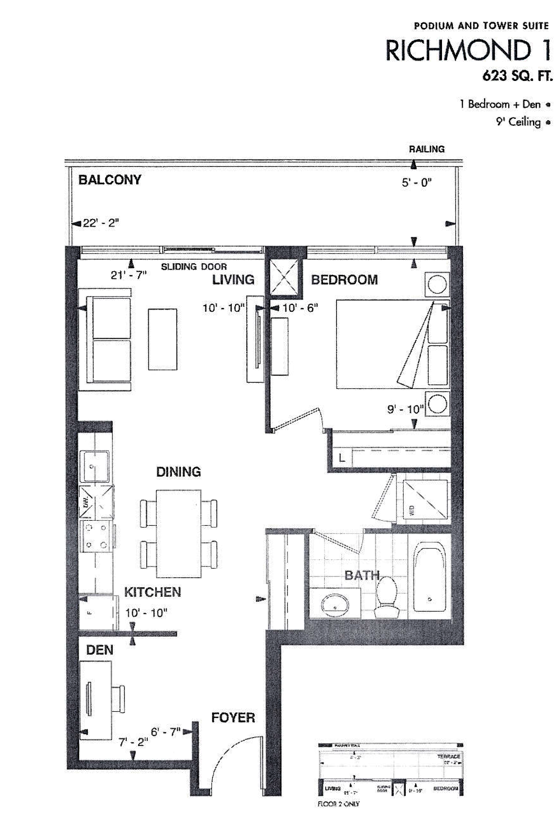 AXIUM CONDOS - FLOORPLAN ONE BED 623 SQ FT - CONTACT YOSSI KAPLAN