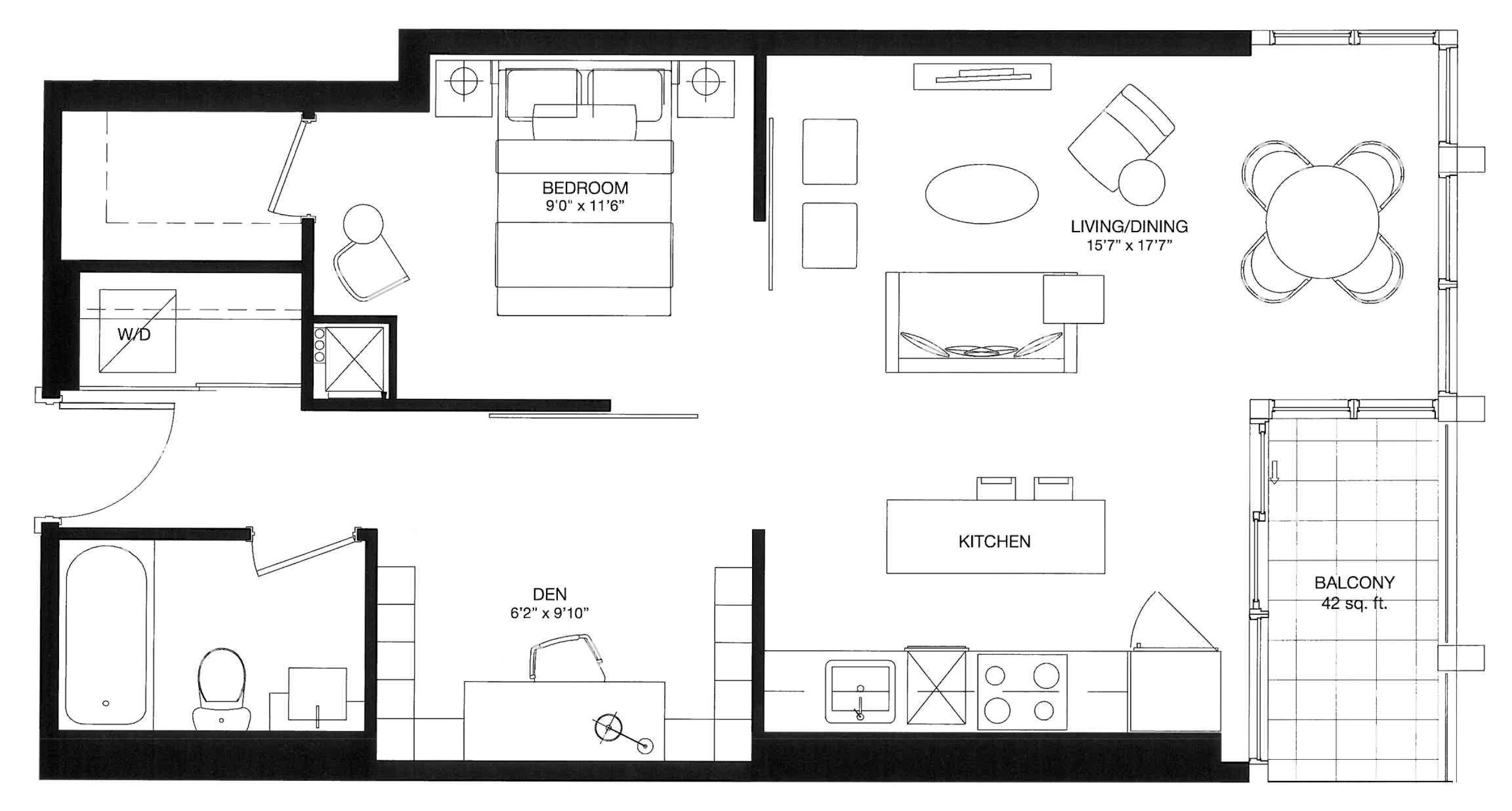 BISHA HOTEL & RESIDENCES - FLOORPLANS ONE BEDROOM PLUS DEN