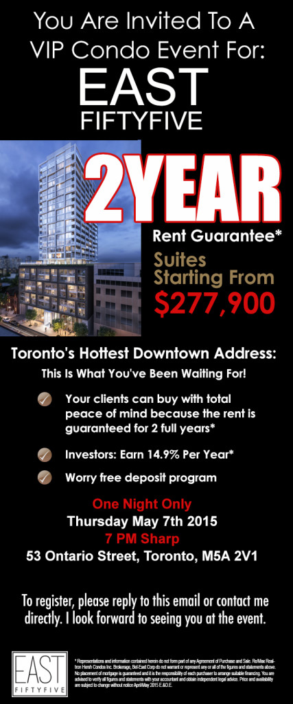 EAST FIFTY FIVE - 2 YEAR RENT GUARANTEE - CONTACT YOSSI KAPLAN