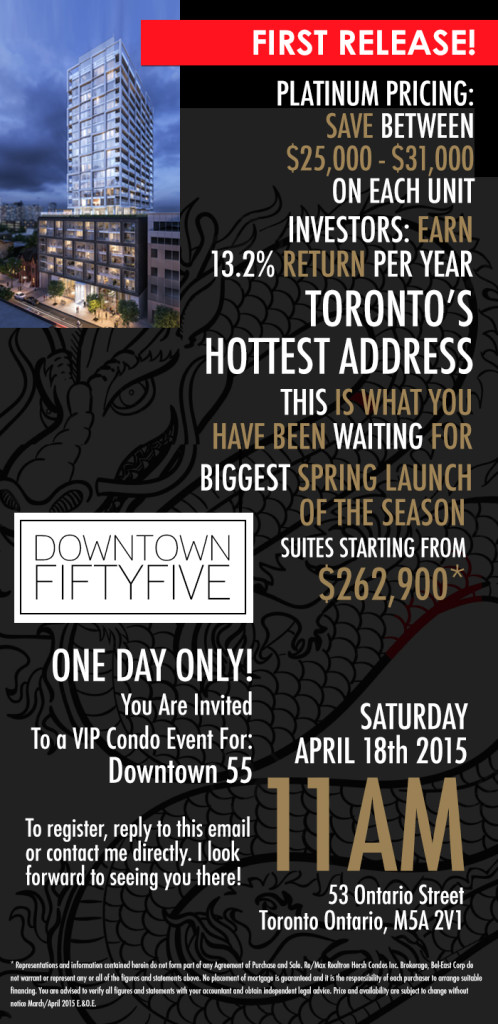 EAST FIFTY FIVE CONDOS - INVITATION TO VIP SALE