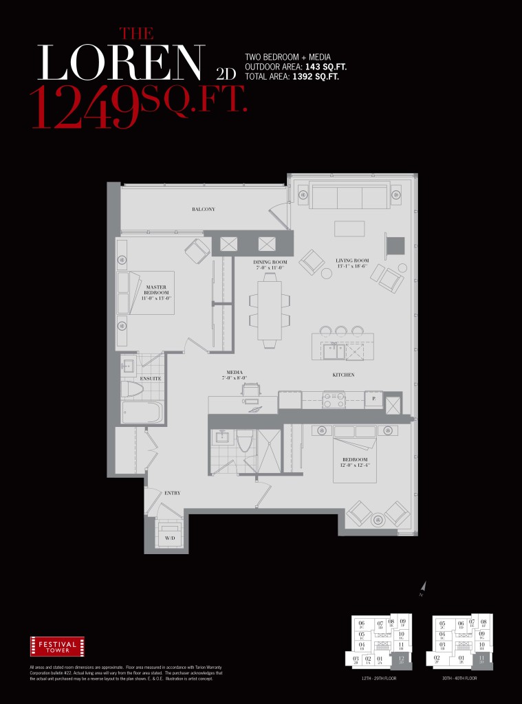80 JOHN - TWO BED FLOORPLAN 1249 SQ FT