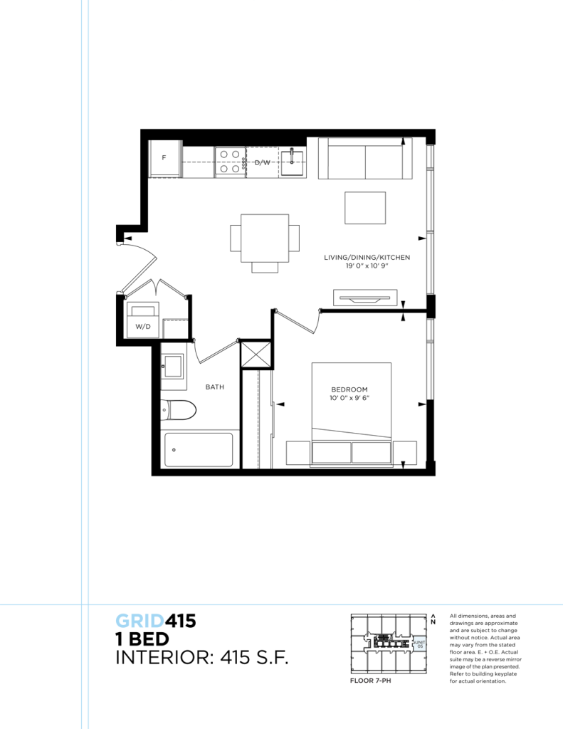 GRID CONDOS - FLOORPLAN ONE BEDROOM 415 SQ FT - CONTACT YOSSI KAPLAN