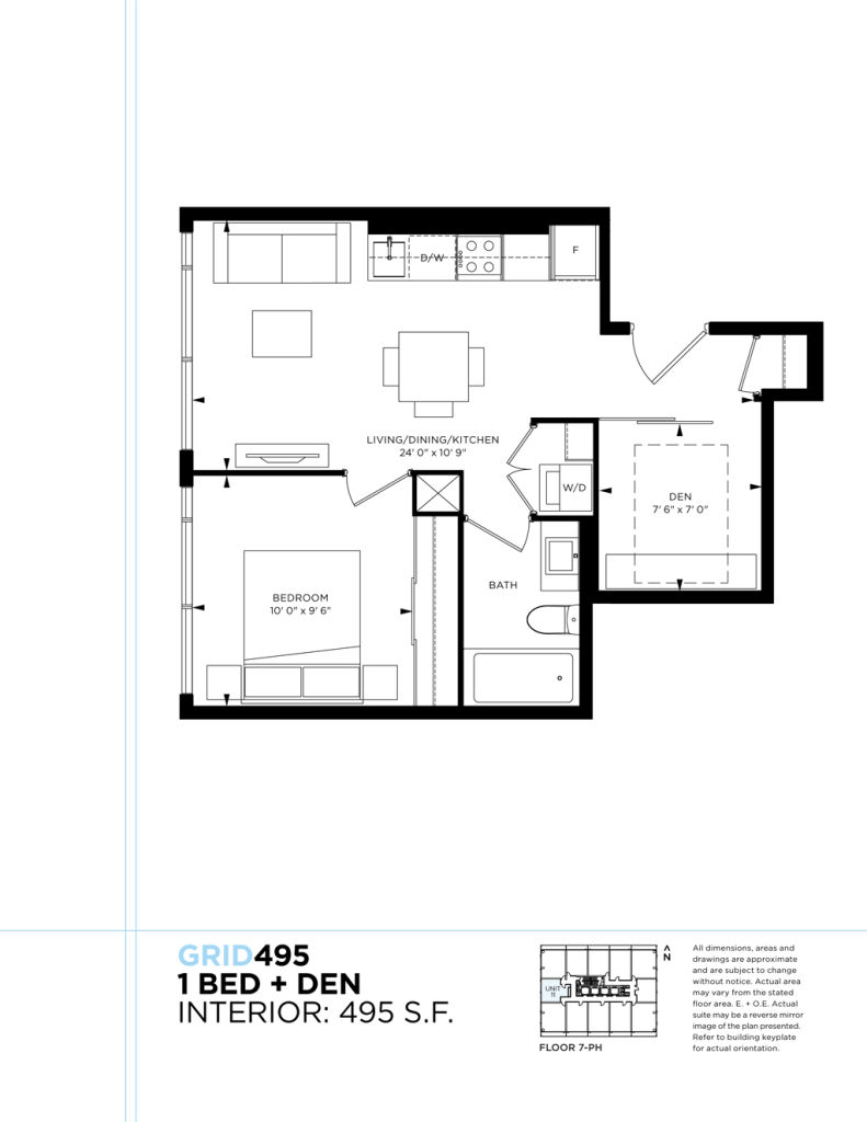 GRID CONDOS - FLOORPLAN ONE PLUS DEN 495 SQ FT - CONTACT YOSSI KAPLAN