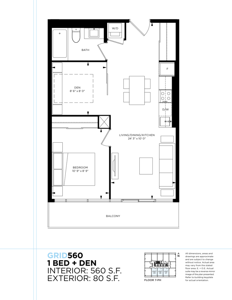 GRID CONDOS - FLOORPLAN ONE PLUS DEN 560 SQ FT - CONTACT YOSSI KAPLAN