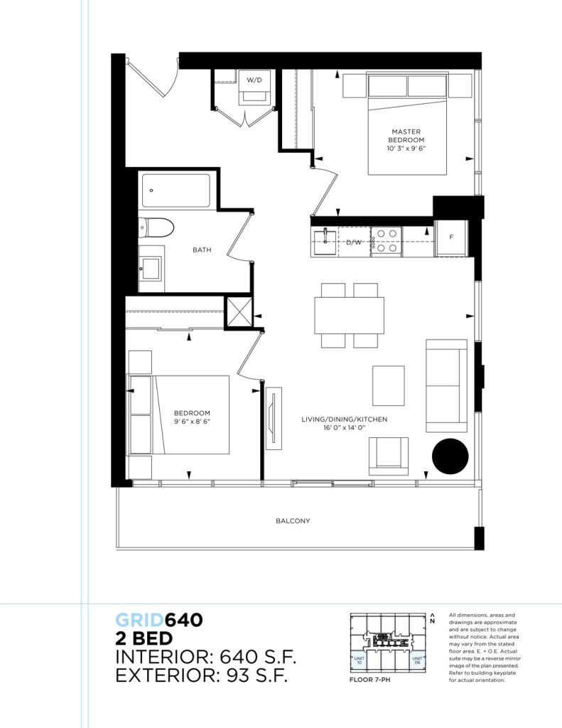 GRID CONDOS - FLOORPLAN TWO BEDROOM 640 SQ FT - CONTACT YOSSI KAPLAN