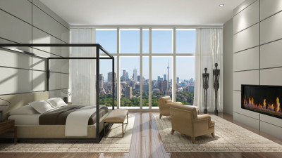 IMPERIAL PLAZA - 111 ST CLAIR AVE WEST - SKY PENTHOUSE RESIDENCE BEDROOM WITH CITY VIEW