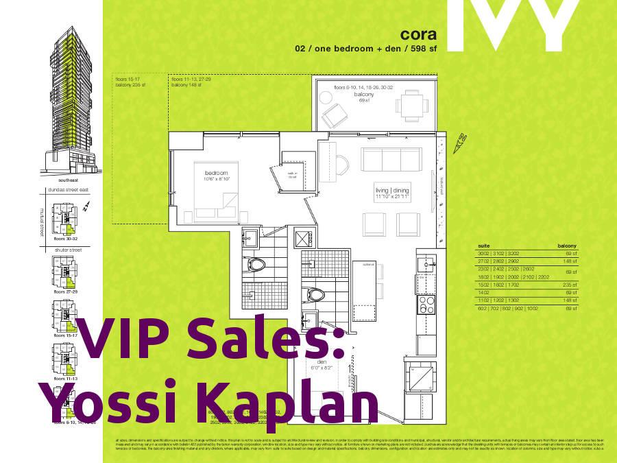 Ivy Condos @ 69 Mutual St - Cora Floorplan - VIP Sales Yossi Kaplan