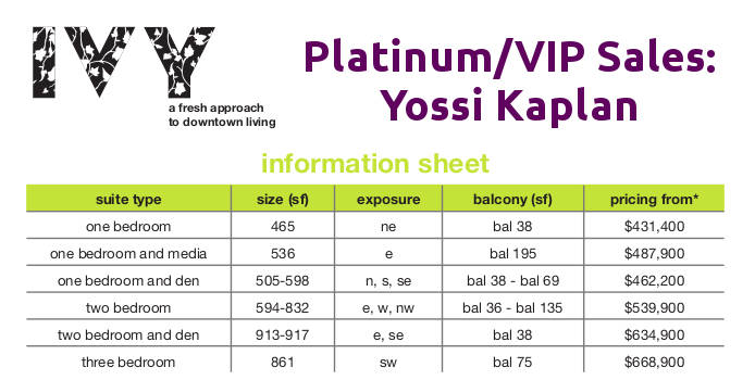 Ivy Condos @ 69 Mutual St - VIP Price List - Contact Yossi Kaplan