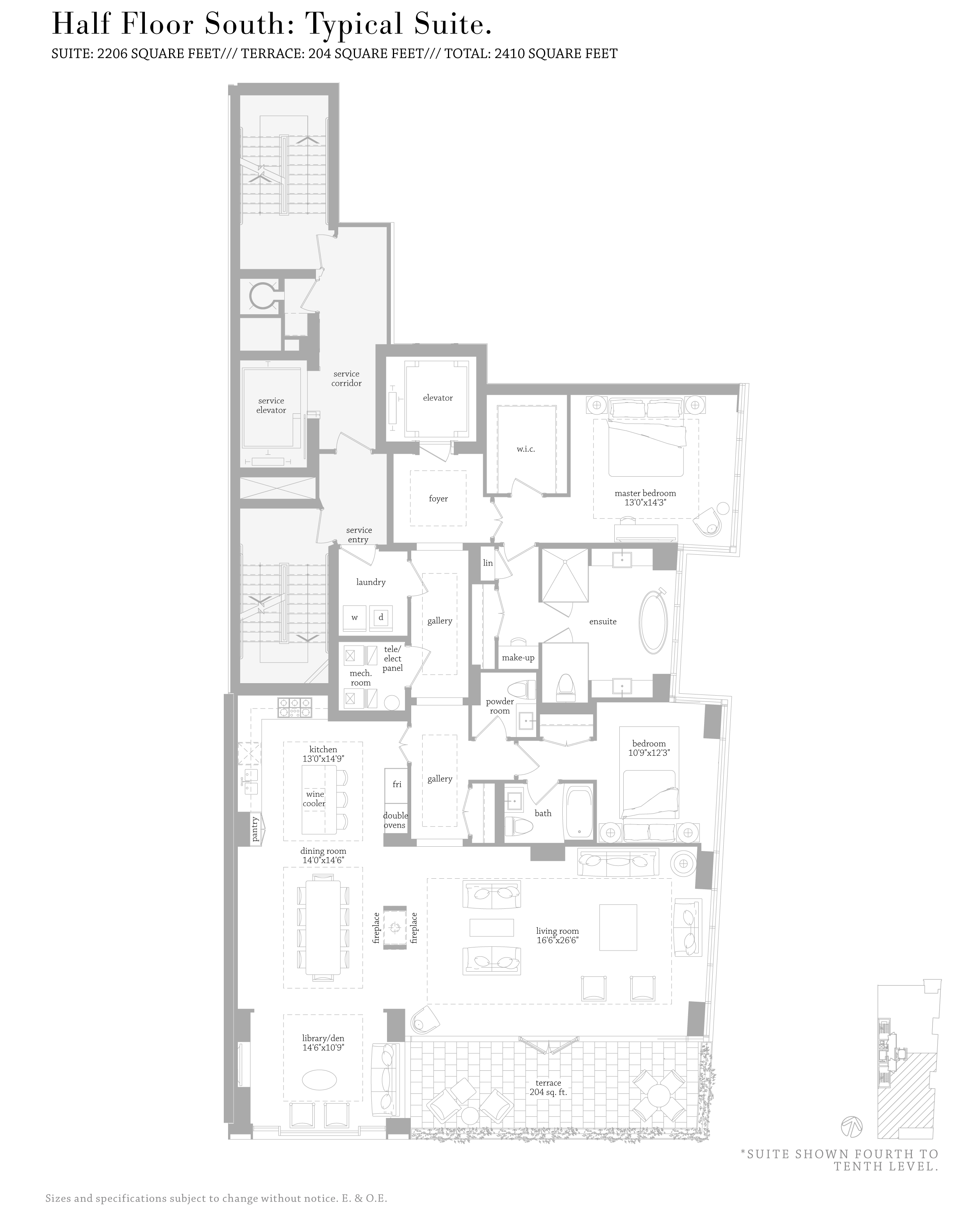 MUSEUM HOUSE FLOORPLANS - HALF FLOOR 2,200 SQ FT