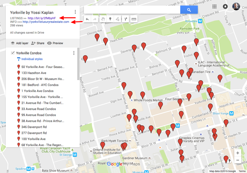 Map of Yorkville Condos For Sale - Yossi Kaplan