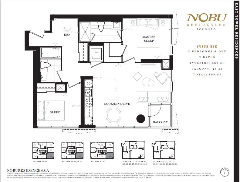 NoBu Condos Flooplan E2K 862 sqft - VIP Sales Yossi Kaplan