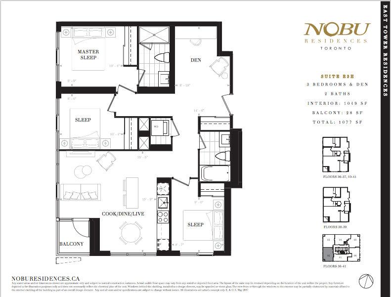 NoBu Condos Flooplan E3H 1049 sqft - VIP Sales Yossi Kaplan