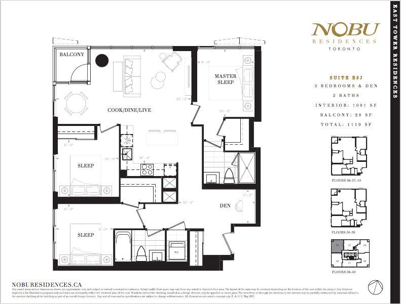 NoBu Condos Flooplan E3J 1091 sqft - VIP Sales Yossi Kaplan