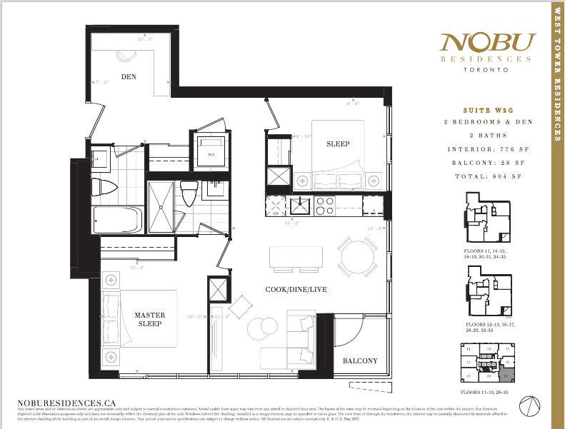 NoBu Condos Flooplan W2G 776 sqft - VIP Sales Yossi Kaplan