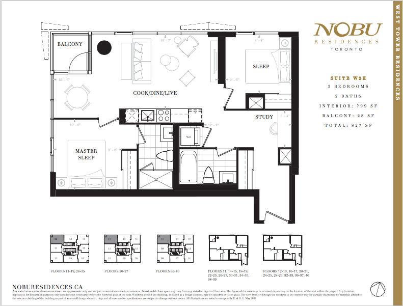 NoBu Condos Flooplan W2H 799 sqft - VIP Sales Yossi Kaplan