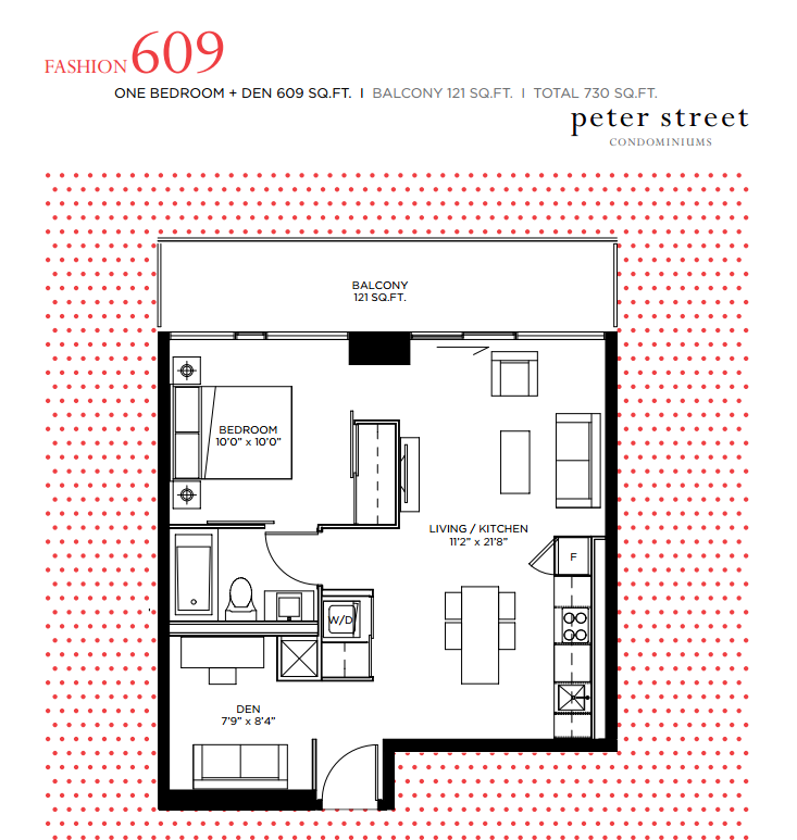 PETER STREET CONDOS FOR SALE - FLOORPLANS 1 BEDROOM PLUS DEN