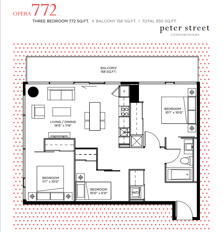 PETER STREET CONDOS FOR SALE - FLOORPLANS 3 BEDROOM