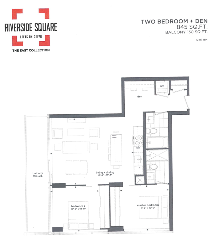 RIVERSIDE SQUARE CONDOS - TWO BED 845 SQ FT - CONTACT YOSSI KAPLAN