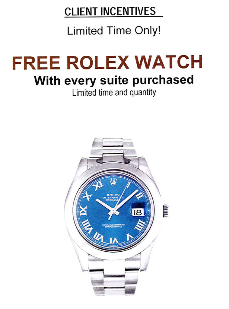 ROSEDALE VIP ROLEX INCENTIVES - CONTACT YOSSI KAPLAN