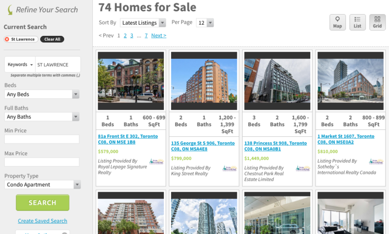 ST LAWRENCE CONDOS FOR SALE - SAVED MAP SEARCH - SCREENSHOT