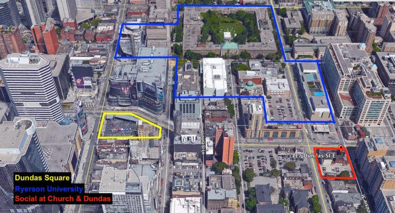Social Condos at 229 Church - Ryerson University Aerial Map