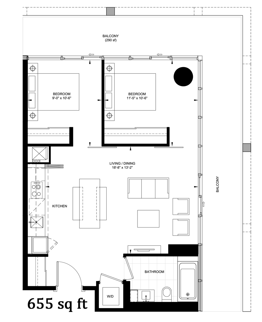 TABLEAU - FLOORPLAN TWO BED 655 SQ FT - CONTACT YOSSI KAPLAN