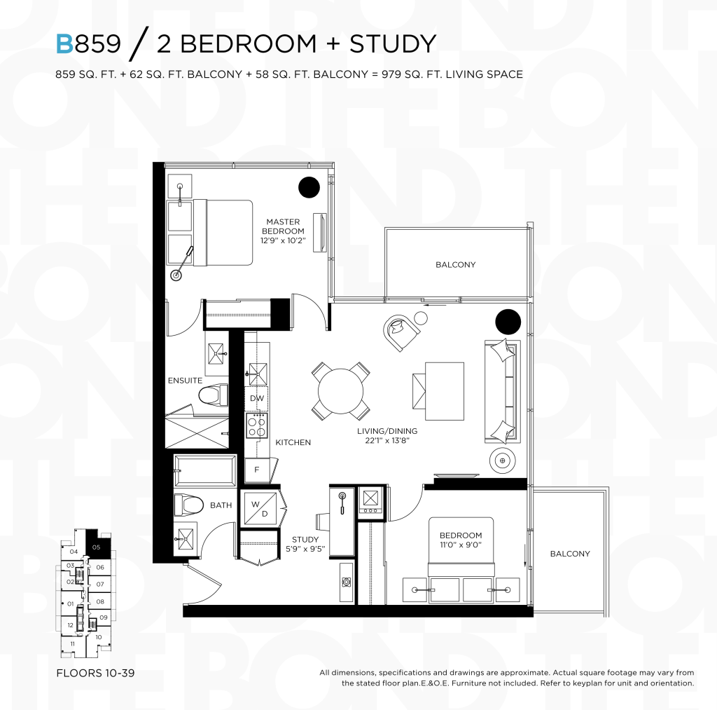 THE BOND CONDOS INVESTMENTS - FLOORPLANS TWO BEDROOM 859 SQ FT - CONTACT YOSSI KAPLAN