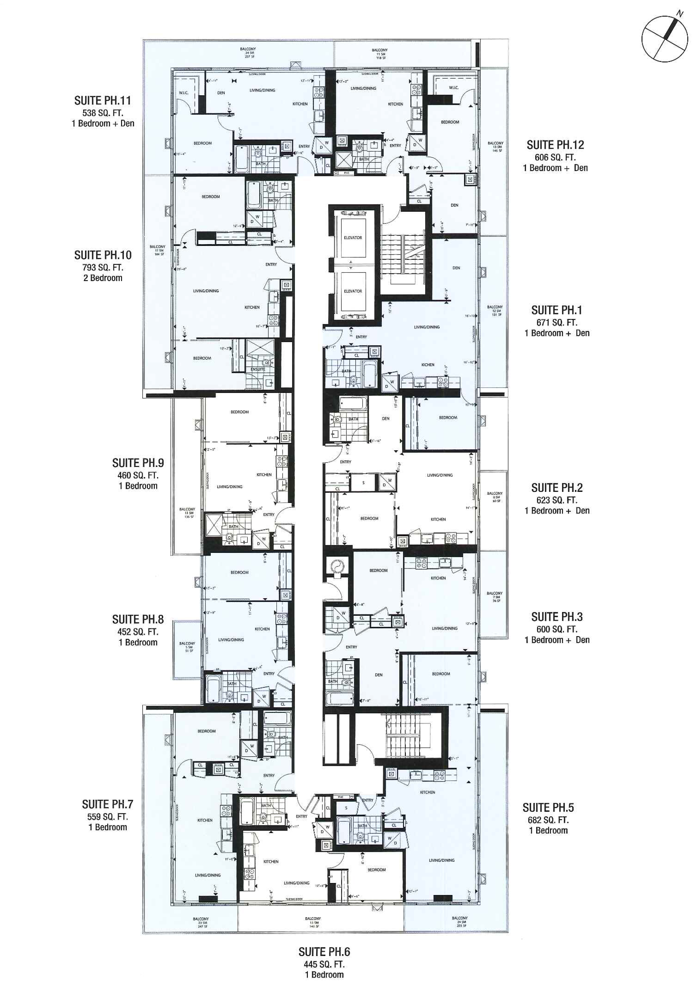 THE COLLEGE CONDOS - FLOOPLANS PENTHOUSE LEVEL - CONTACT YOSSI KAPLAN