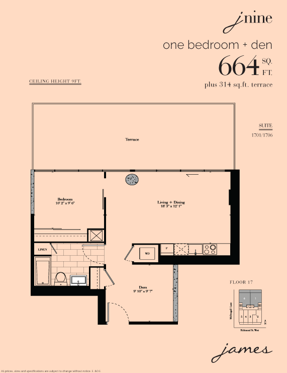 THE JAMES CONDOS - FLOORPLAN 664 SQFT- CONTACT YOSSI KAPLAN 416.479.4241