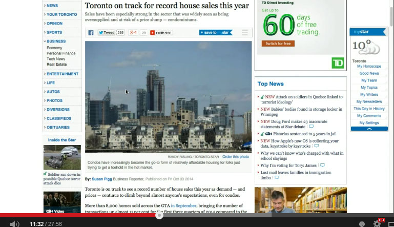 Toronto Real Estate Market 2015 - Boom Bust Bubble