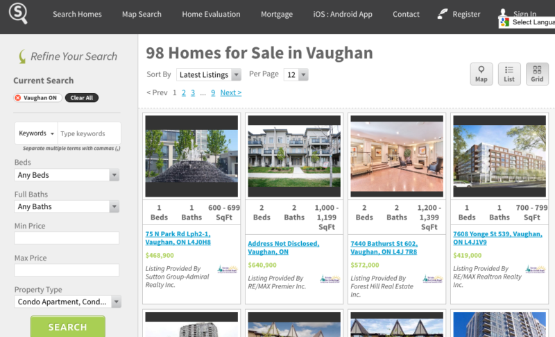 VAUGHAN CONDOS FOR SALE - SAVED MAP SEARCH