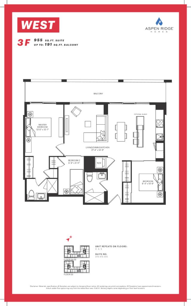 West condos vip sale for Kaplan floor plan