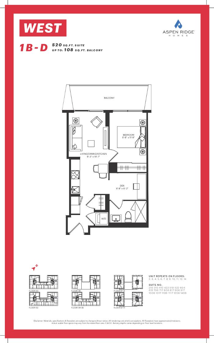 West Condos @ 89 Niagara St - 1B-D Floorplan - VIP Sales Yossi KAPLAN