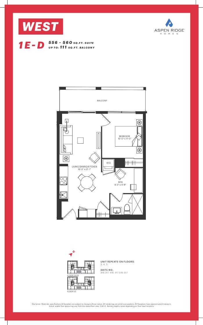 West Condos @ 89 Niagara St - 1E-D Floorplan - VIP Sales Yossi KAPLAN