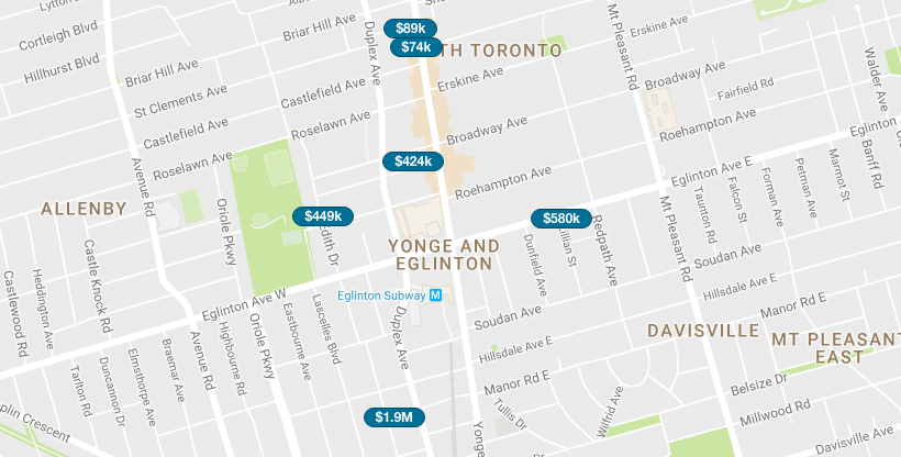 YONGE AND EGLINTON CONDOS - SAVED MAP SEARCH