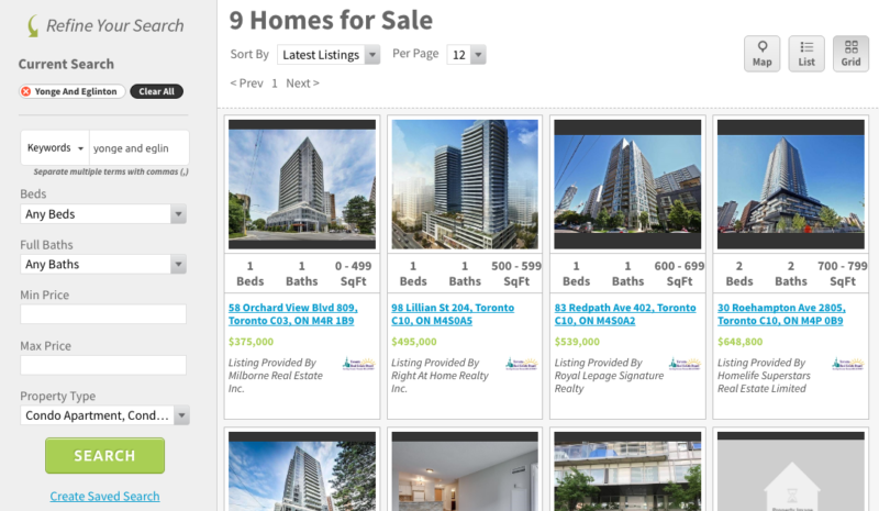 Yonge and Eglinton Condos for Sale - Saved Area Search