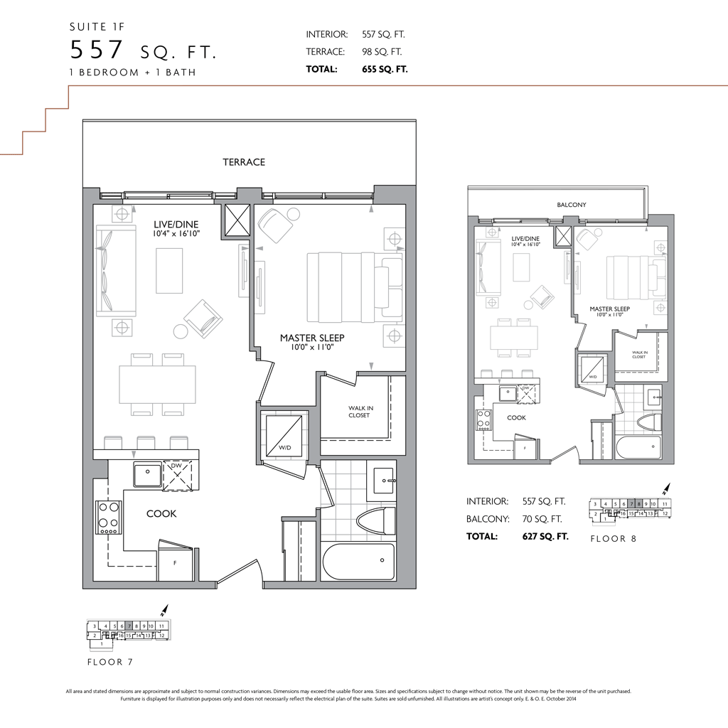ONE BEDROOM FOR SALE - 223 ST CLAIR W - FLOORPLAN 557 SQ FT