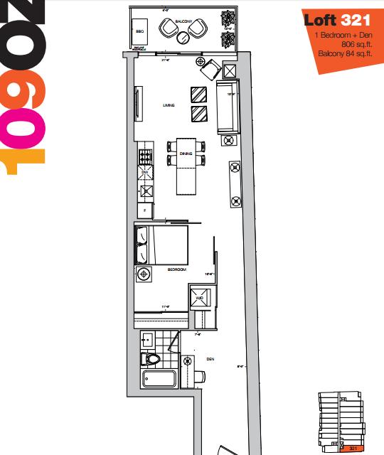 109 OZ LOFTS - FLOORPLAN ONE BEDROOM
