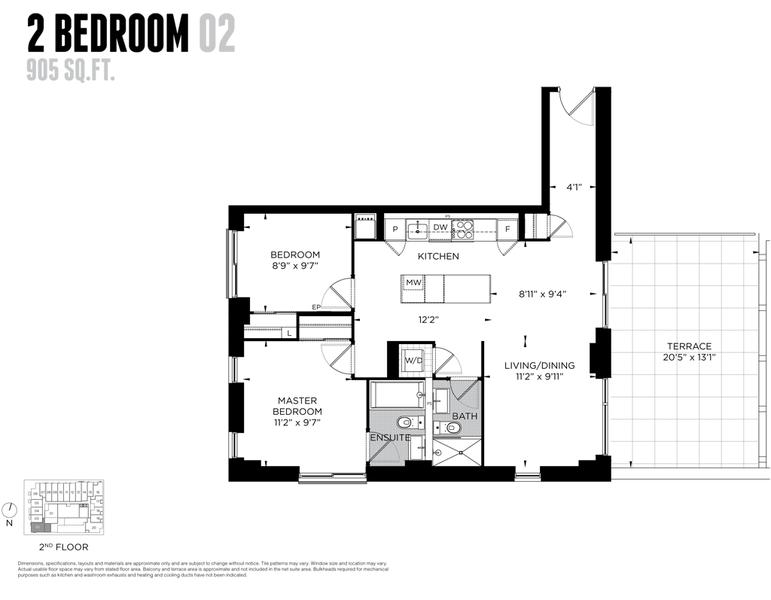 1093 Queen West Condos - FLOORPLAN - Two Bedroom 905 Sq ft