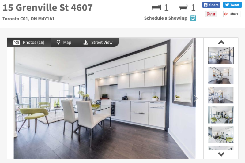 15 Grenville Condos - One Bed Corner Suite for Sale