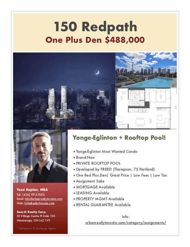 150 Redpath Condos for Sale - Call Yossi Kaplan