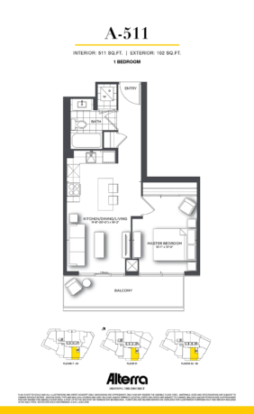 159SW CONDOS VIP LAUNCH - FLOORPLAN ONE BED 511 SQ FT