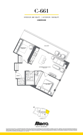 159SW CONDOS VIP LAUNCH - FLOORPLAN TWO BED 661 SQ FT