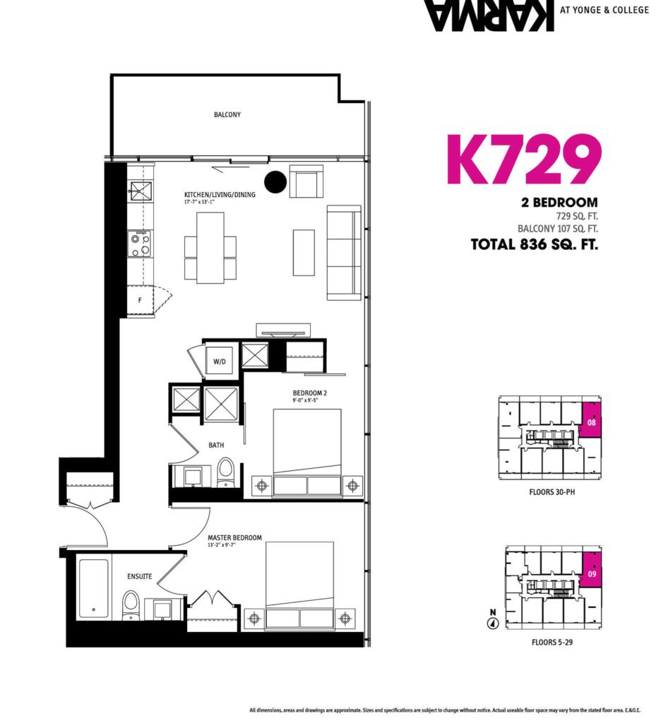 21 GRENVILLE ST - FLOORPLAN TWO BEDROOM 729 SQ FT - CONTACT YOSSI KAPLAN