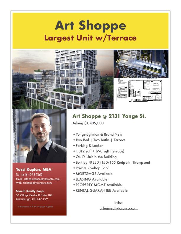 2131 Yonge St - Art Shoppe Condos for Sale - 1312 sqft w/ Terrace - Call Yossi Kaplan
