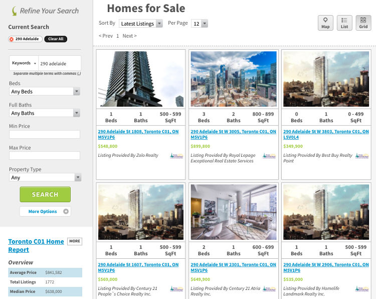 Condos for Sale @ 290 Adelaide - Live Listings