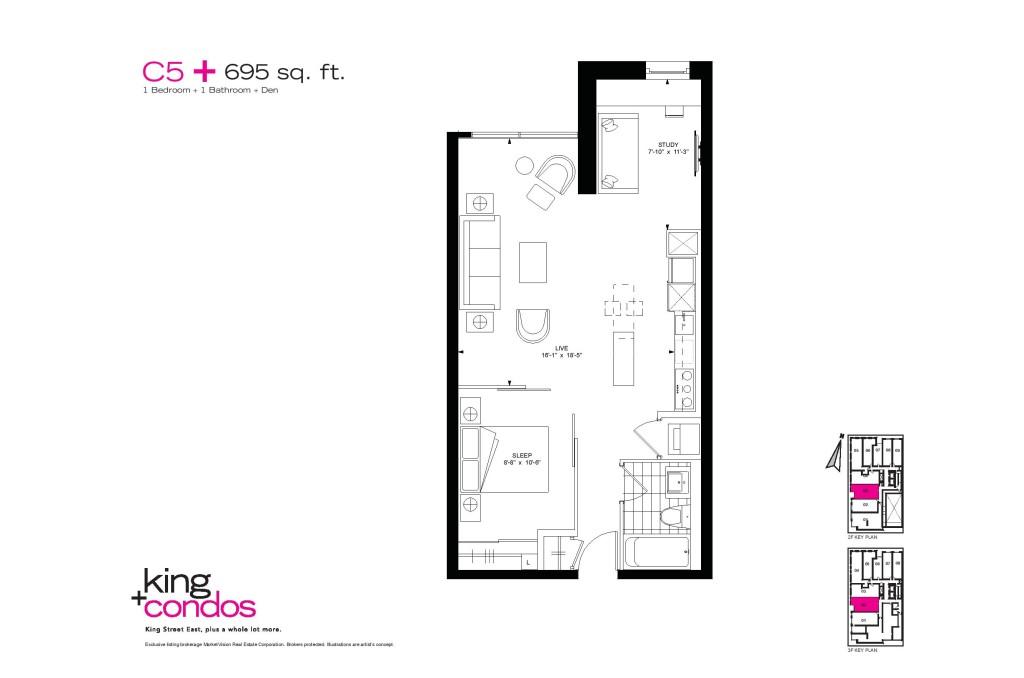 39 SHERBOURNE ST - ONE BED PLUS DEN FLOORPLAN 695 SQ FT - CONTACT YOSSI KAPLAN