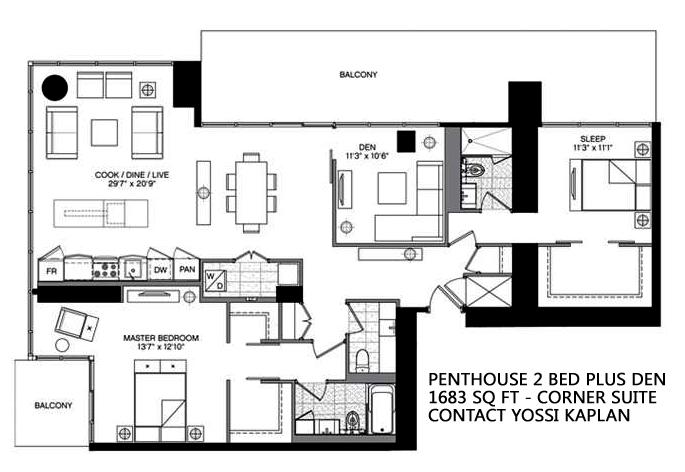 5 ST JOSEPH - FLOORPLAN PENTHOUSE TWO BEDROOM 1683 SQ FT - CONTACT YOSSI KAPLAN